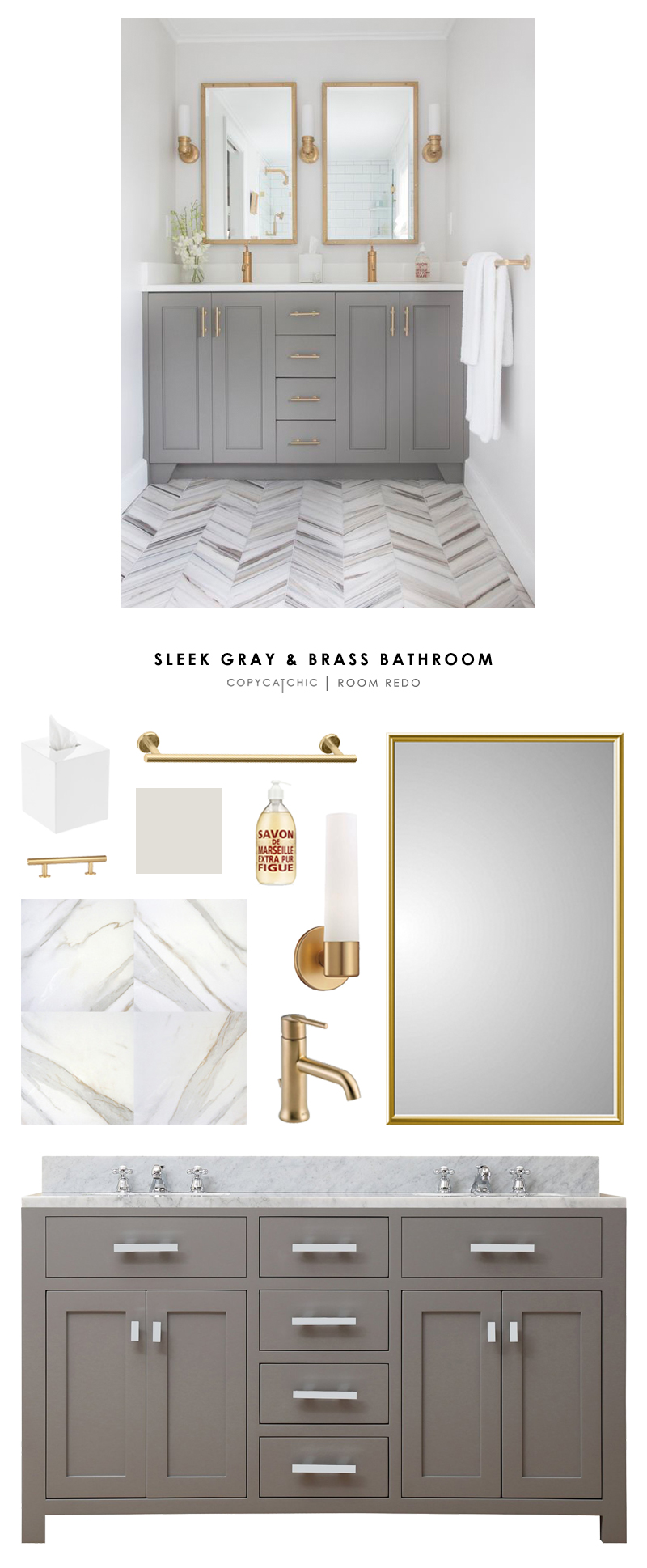 Copy Cat Chic Room Redo Sleek Gray And Brass Bathroom