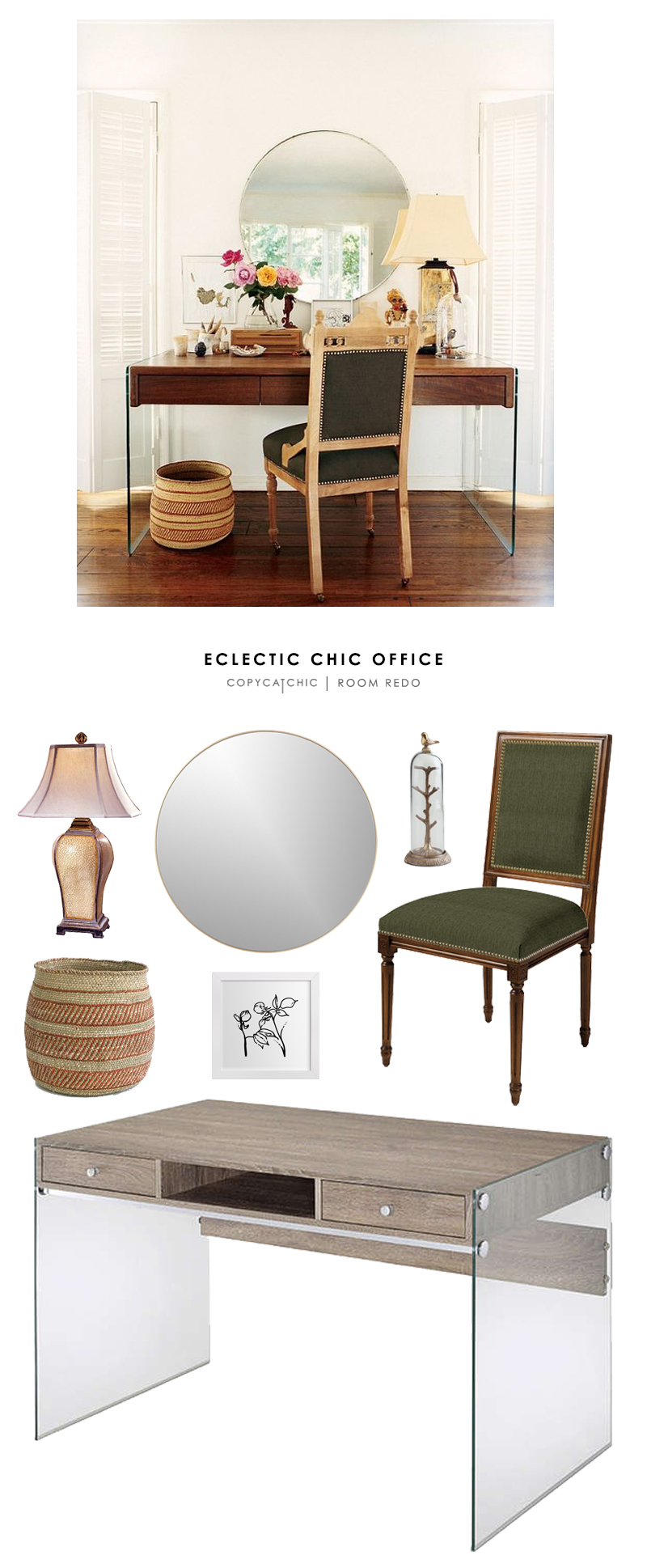 This eclectic, chic office featured on My Domaine is recreated for less by @copycatchic | home looks for less budget home, decor, style and design