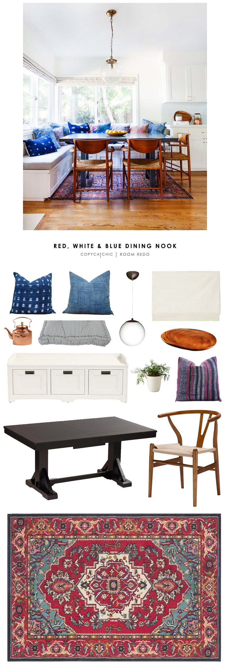 Copy Cat Chic Room Redo | Red, White, and Blue Dining Nook - copycatchic