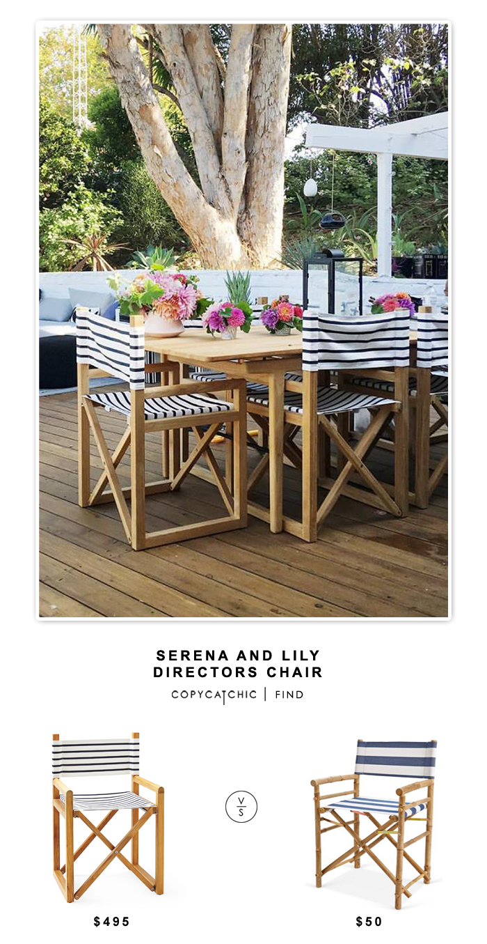 Serena and Lily Directors Chair for $496 vs Hayneedle Zew Bamboo Director Chair for $100 (set of 2) | @copycatchic look for less budget home decor design