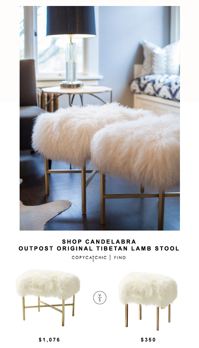 Shop Candelabra Original Tibetan Lamb Stool for $1,076 vs CB2 Sheepskin Stool for $350 | @copycatchic budget home decor and design looks for less