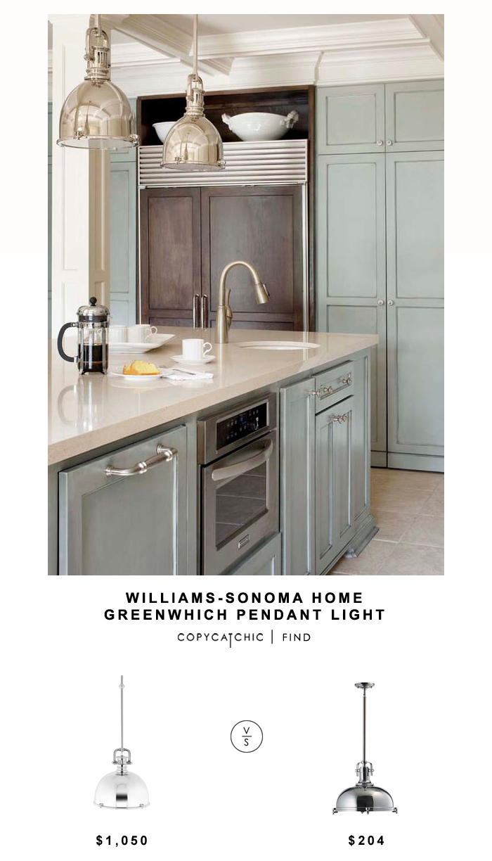 Williams-Sonoma Home Greenwich Pendant for $1,050 vs Bellacor Quarum International One-Light Chrome Pendant for $204 | @copycatchic home look for less