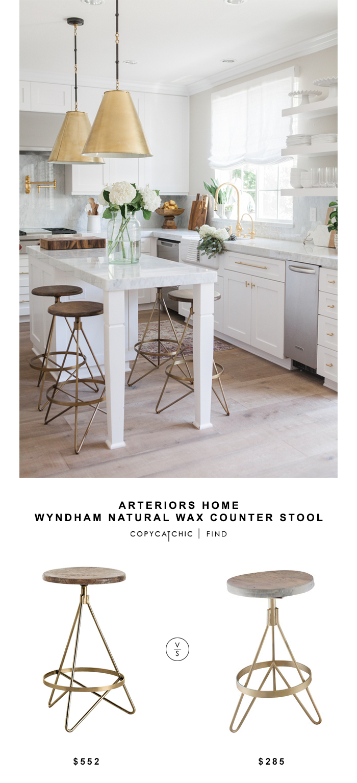 Arteriors Home Wyndham Natural Wax Counter Stool for $552 vs Doorman Designs Earheart Bar Stool for $285 | @copycatchic look for less budget home decor