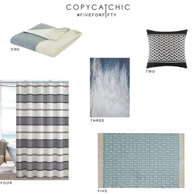 Designer Living #FiveforFifty with @Copycatchic | Shades of summer blue affordable home decor and accents