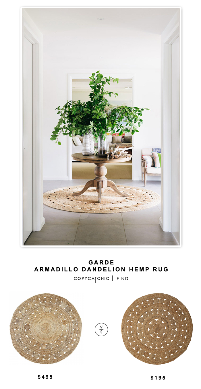 Garde Armadillo Dandelion Hemp Rug for $495 vs Serena and Lily Jute Rug for $195 | @copycatchic look for less budget home decor and design