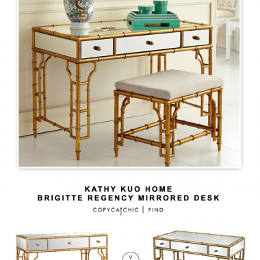 Kathy Kuo Home Brigitte Regency Mirrored Bamboo Console Desk
