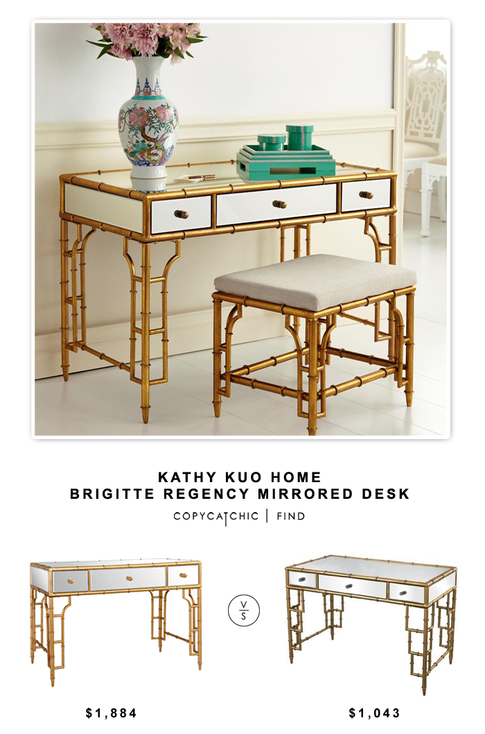 Kathy Kuo Home Brigitte Regency Mirrored Bamboo Console Desk for $1,884 vs Sterling Industries Top Desk with Bamboo Frame for $1,043 | @copycatchic decor