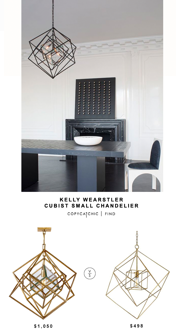 Kelly Wearstler Cubist Small Chandelier for $1050 vs Bellacor Neil Gold Leaf One Light 18 inch Pendant for $498 | @copycatchic look for less home decor