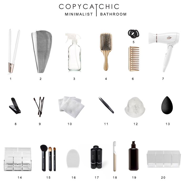 Minimalist Modern Bathroom Supplies | Decluttering the bathroom and organizing it with eco-friendly products while giving it a minimalist look. @copycatchic | home decor and design