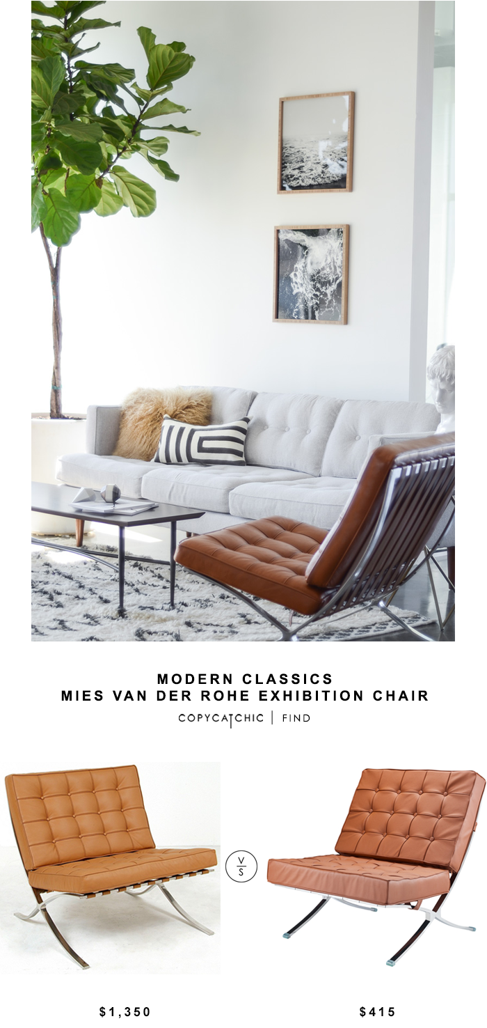 Modern Classics Mies Van Der Rohe Exhibition chair for $1350 vs InStyle Modern Tufted Pavilion Chair for $415 | @copycatchic look for less budget home decor