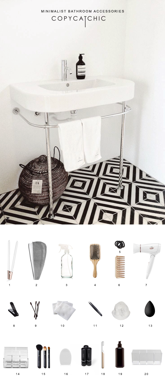 Minimalist Modern Bathroom Supplies | Decluttering the bathroom and organizing it with eco-friendly products while giving it a modern minimalist look. @copycatchic | home decor and design