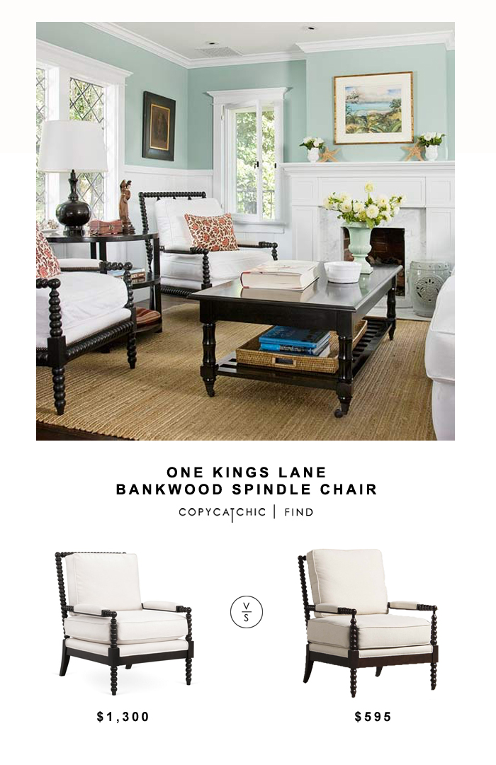 One Kings Lane Bankwood Spindle Chair for $1,300 vs Living Spaces Kindsley Accent Chair for $595 | @copycatchic look for less budget home decor get the look