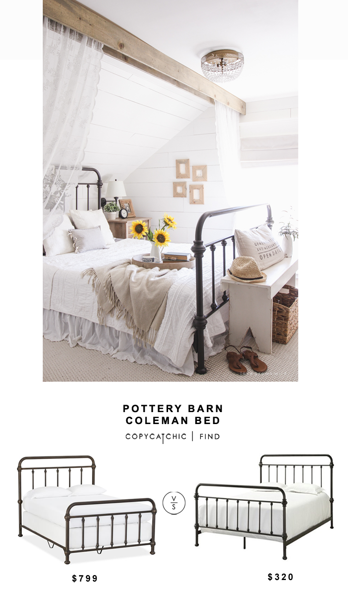 Pottery Barn Coleman Bed for $799 vs Amazon Gisele Antique Dark Bronze Metal Bed for $320 | @copycatchic look for less budget home decor and design