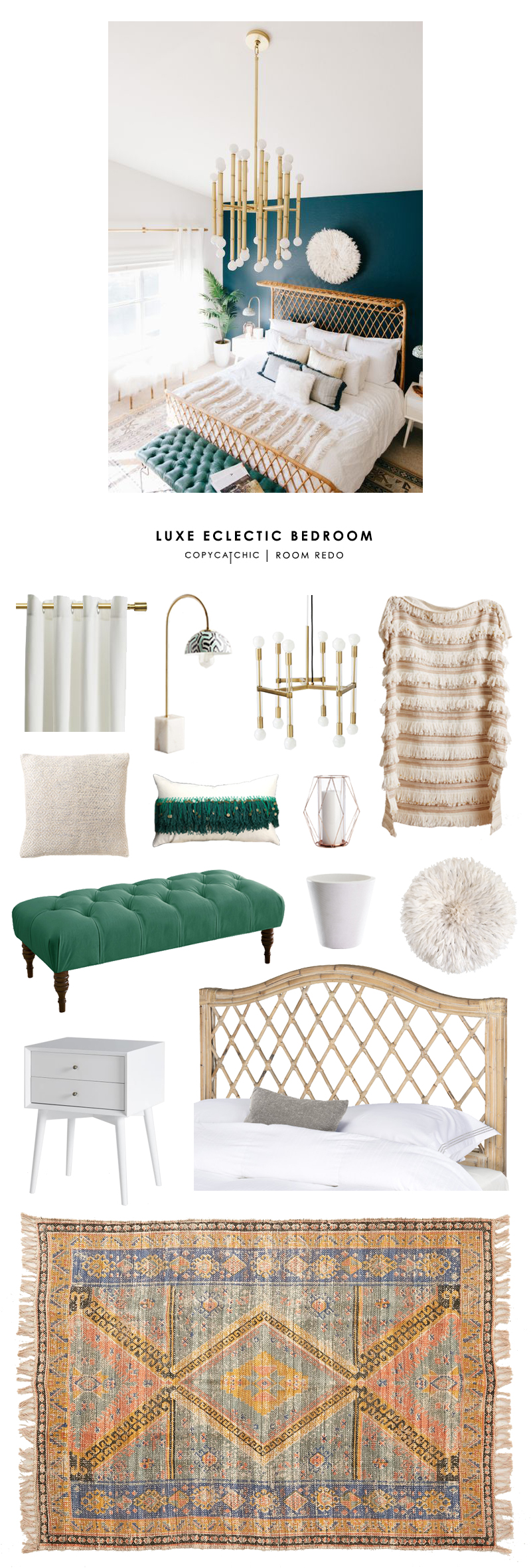 This luxe boho eclectic master bedroom by Alexandra Evjen gets recreated for less by @copycatchic | budget home decor and design room redos looks for less