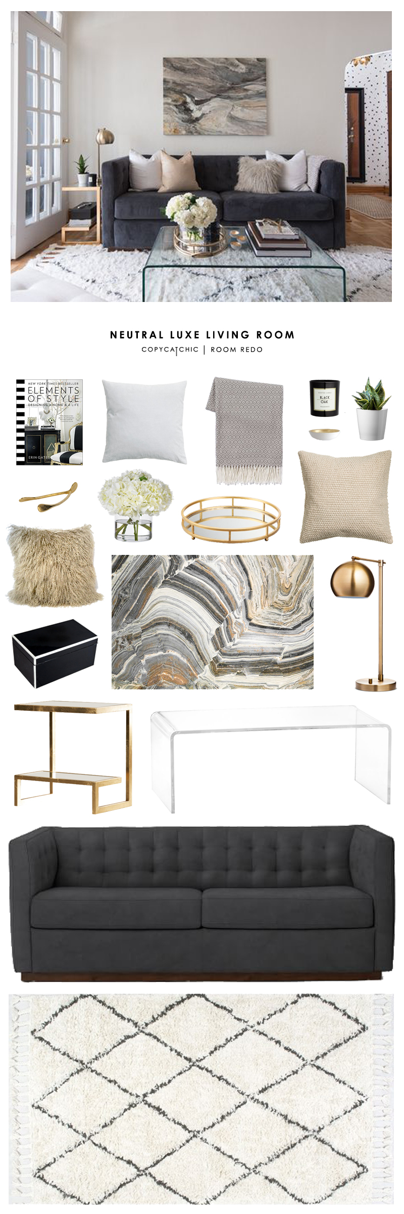 Copy Cat Chic Room Redo Neutral Luxe Living Room Copycatchic