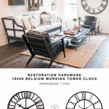 Restoration Hardware 1840s Belgium Working Tower Clock