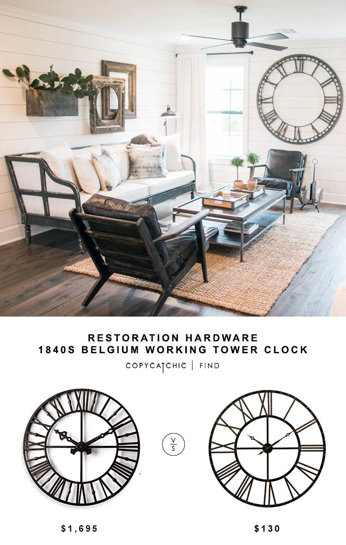 Restoration Hardware 1840s Belgium Working Tower Clock for $1695 vs Kirkland's Addison Open Face Clock for $130 @copycatchic look for less budget home decor