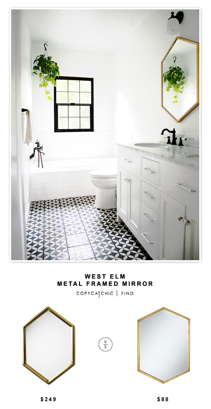 West Elm Metal Framed Mirror for $249 or Coaster Furniture Versatile Hexagon Gold Metal Mirror for $88 | @copycatchic budget home decor looks for less