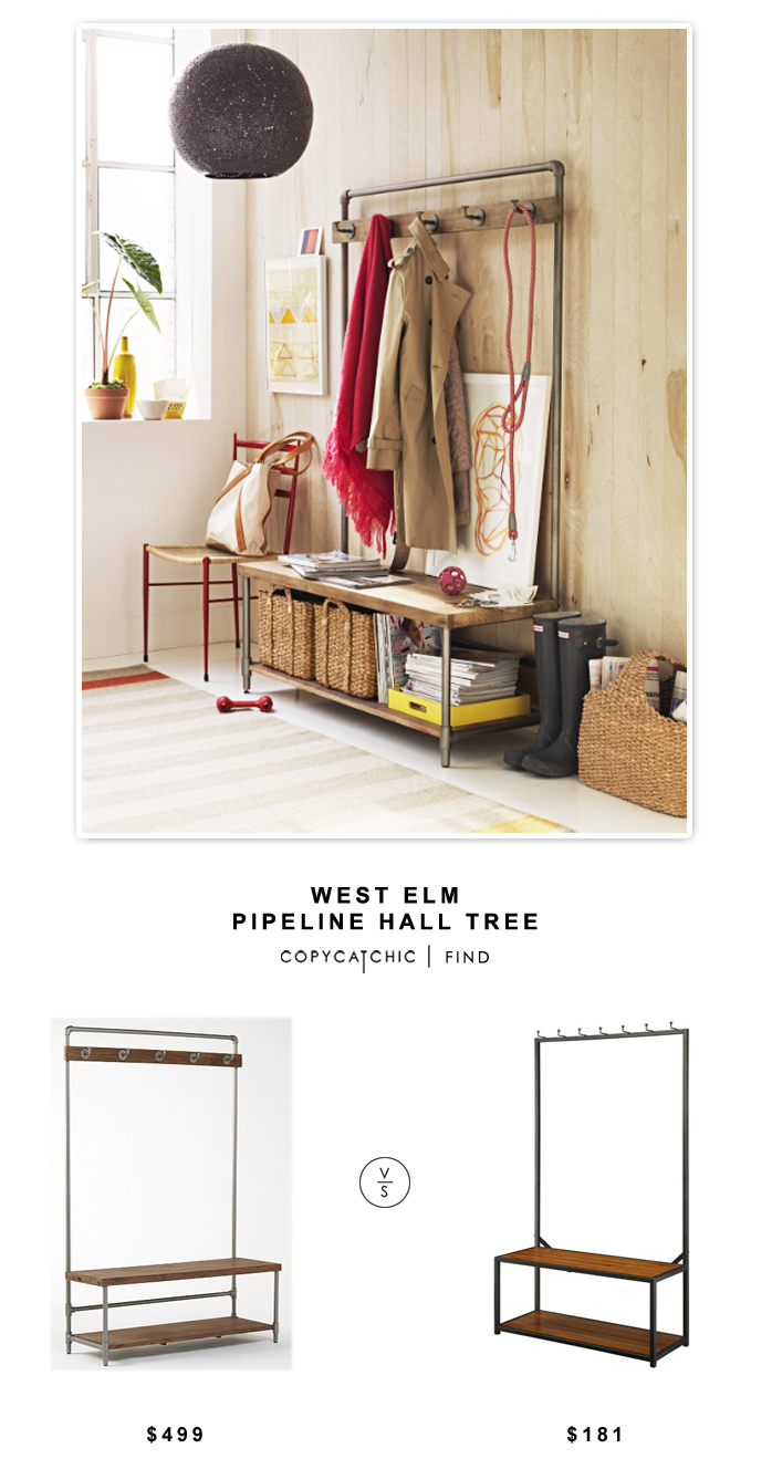 West Elm Pipeline Hall Tree for $499 vs Carolina Cottage Sonoma Hall Bench for $181 | @copycatchic look for less budget home decor and design