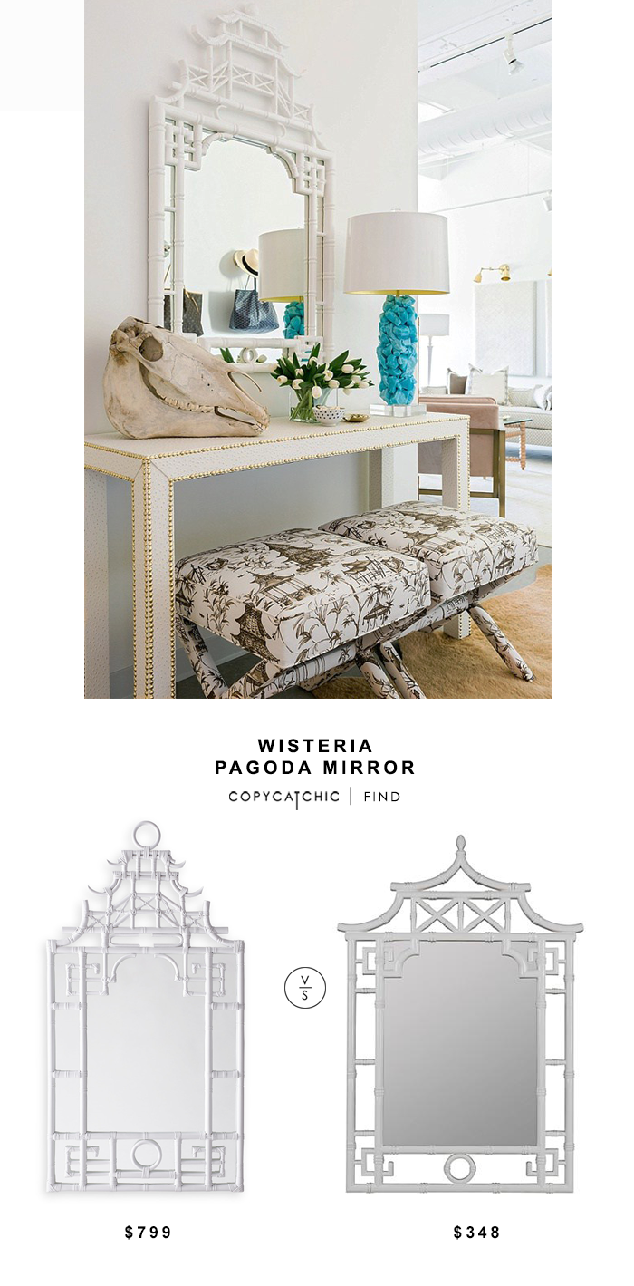 Wisteria White Pagoda Mirror for $799 vs Lamps Plus Cooper Classics Pagoda Wall Mirror for $348 | @copycatchic look for less chic find budget home decor