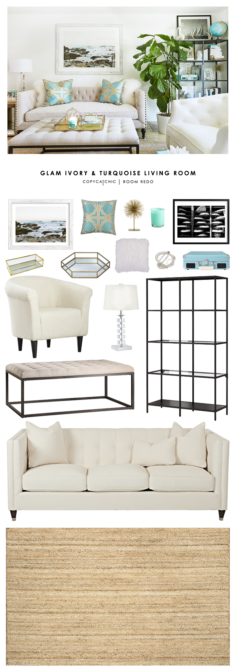 Copy cat chic room redo glam ivory and turquoise living - How to redo a living room under 100 ...