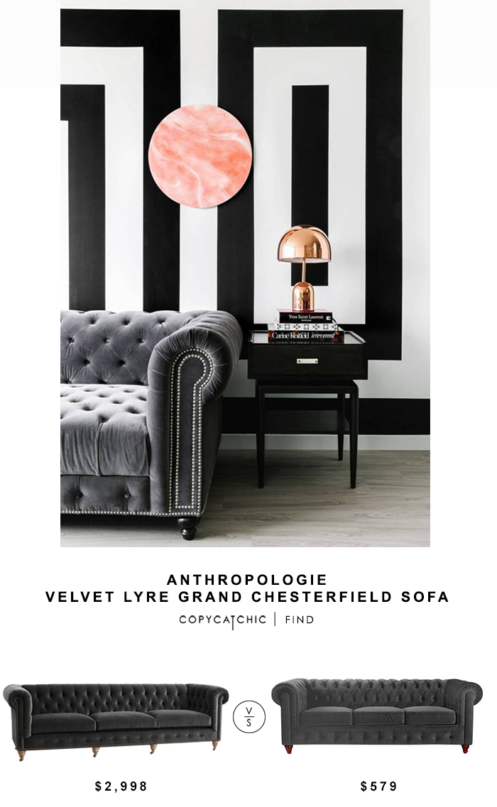 Anthropologie Velvet Lyre Chesterfield Sofa for $2,998 vs Houzz Chesterfield Sofa for $579 | @copycatchic look for less chic find budget home decor design
