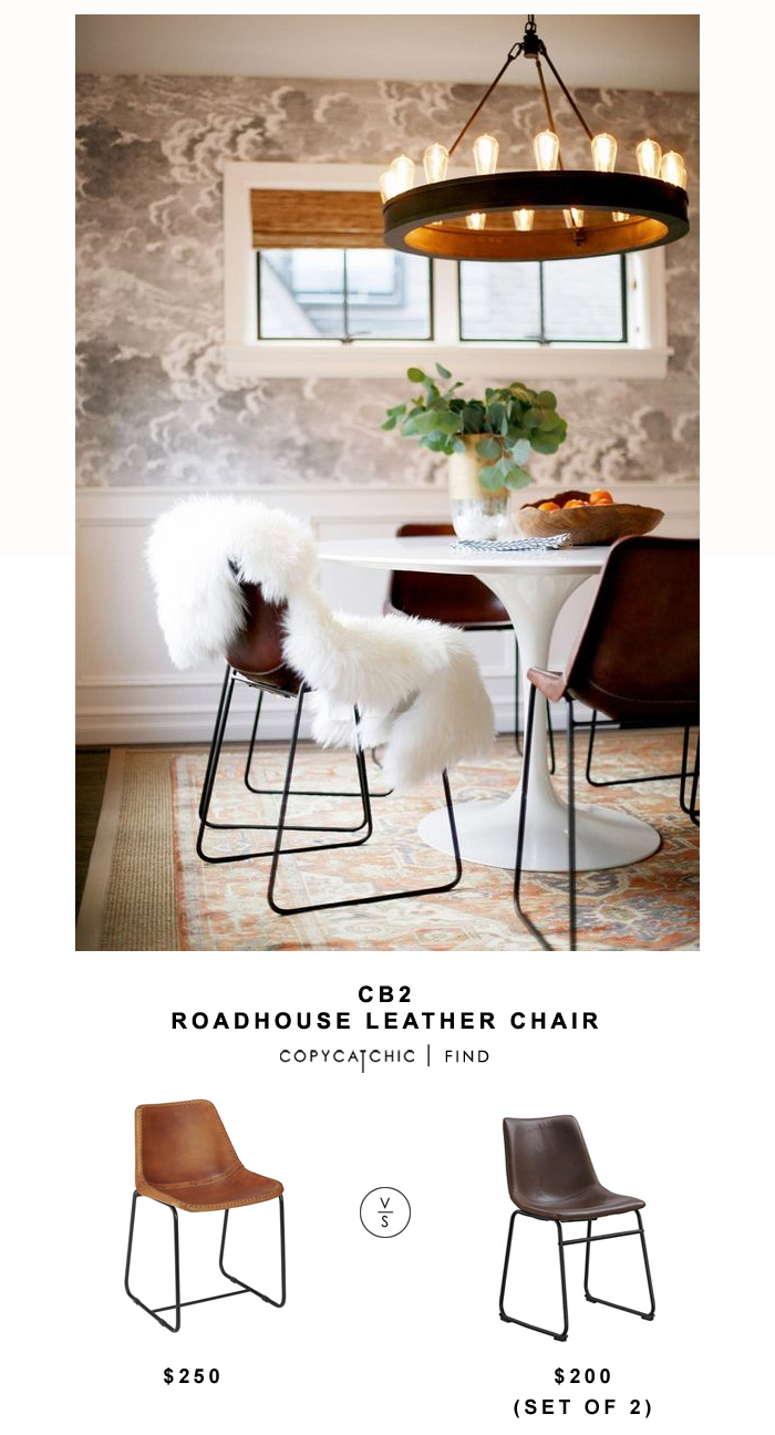CB2 Roadhouse Leather Chair for $250 vs Target Walker Edison Faux Leather Industrial Chairs (set of 2) for $180 | @copycatchic look for less budget home