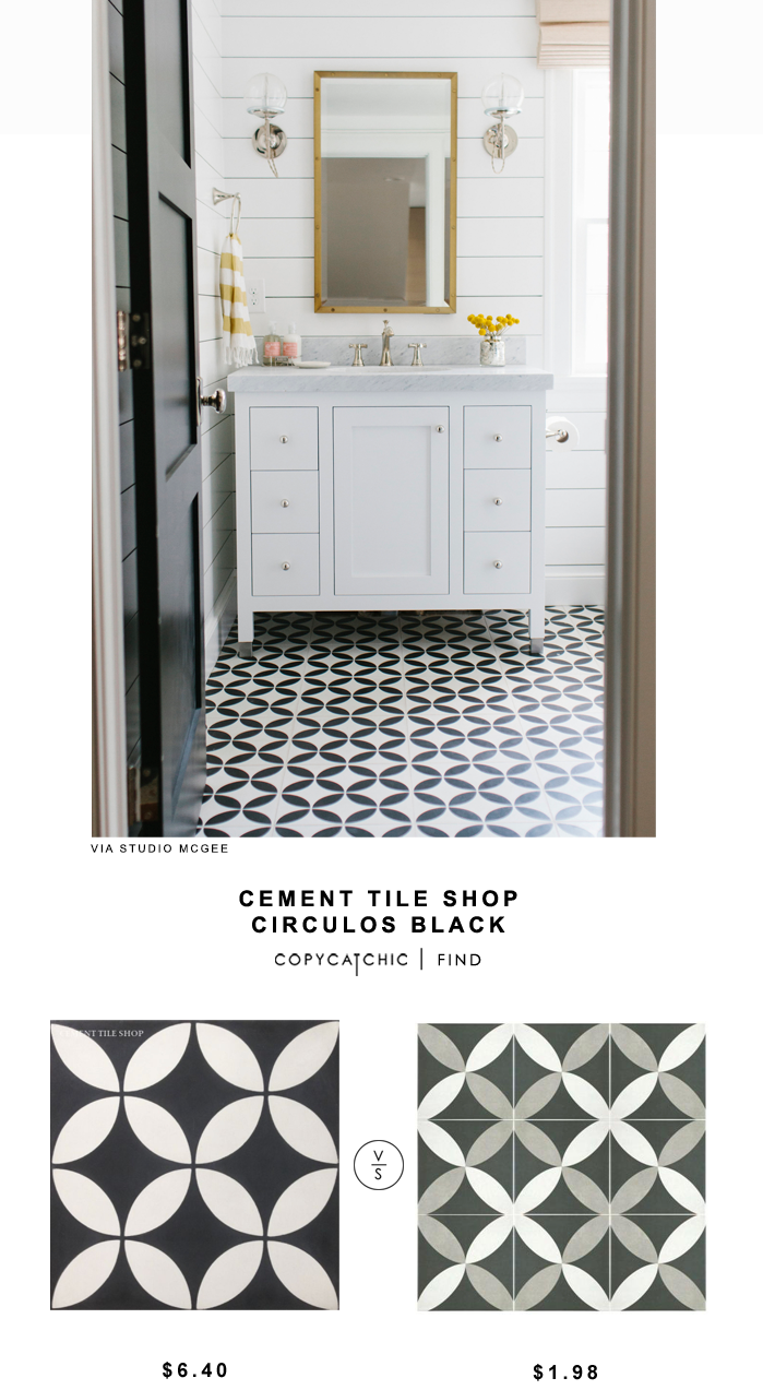 Cement Tile Shop Circulos Black for $6.40 vs Home Depot Merola Tile Twenties Petal for $1.98 | @copycatchic look for less budget home decor and design