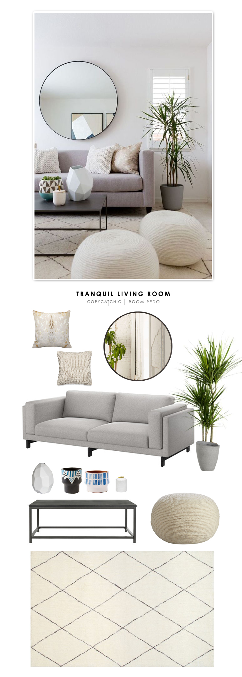 A tranquil neutral living room by Square Foot Interior Design gets recreated for less by @copycatchic | budget home decor and design looks for less
