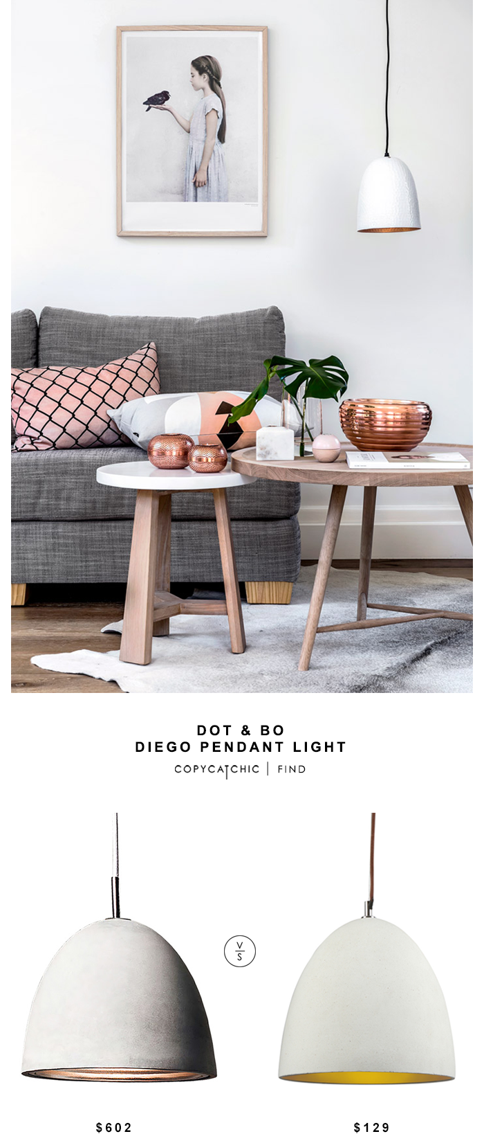 Dot & Bo Diego Pendant Light for $602 vs Temple & Webster Stone Luminite Concrete Oval Pendant Lamp for $129 | @copycatchic look for less budget home decor