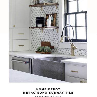 Home Depot MEtro Soho Subway Tile for $8.22 vs Floor Bros Tesoro Porcelain Herringbone Tile for $5.94 | @copycatchic look for less budget home decor design