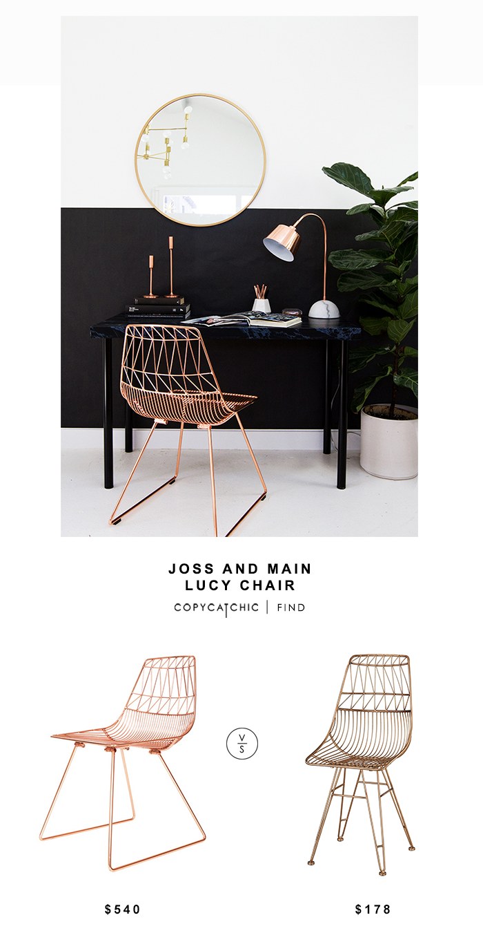 One Kings Lane Bend Goods Lucy Copper Wire Chair for $549 vs Overstock Sterling Home Jette Chair in Rose Gold for $178 | @copycatchic look for less