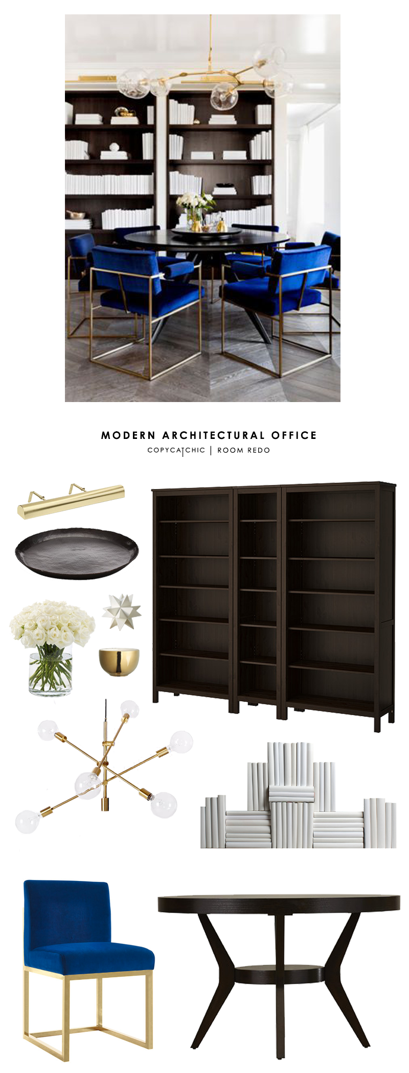 A modern office designed by Tamara Magel gets recreated for less by @copycatchic | budget home decor and design looks for less room redo chic finds