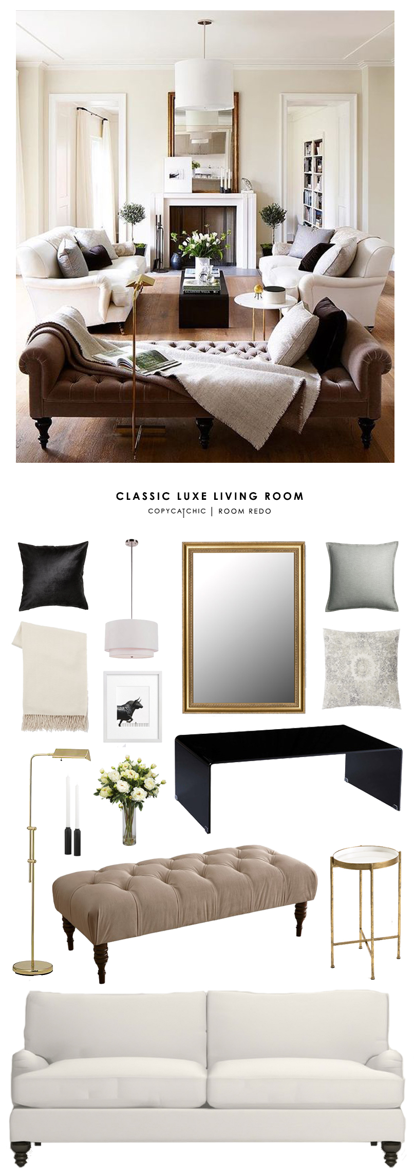 Copy cat chic room redo classic luxe living room copy for Copy designer furniture