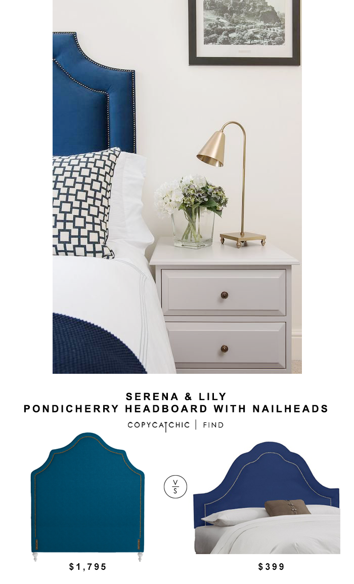 Serena & Lily Pondicherry Headboard with Nailheads for $1,795 vs Target Arch Inset Nail Button Headboard for $399 | @copycatchic look for less budget home