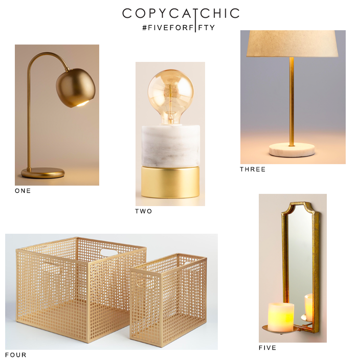 Favorite gold items for under $50 from @worldmarket and @copycatchic | budget home decor and design looks for less room redos #FiveforFifty