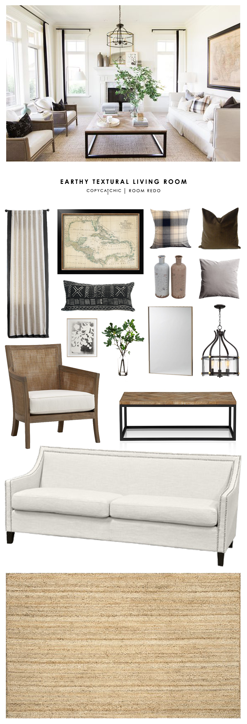 Copy cat chic room redo earthy textural living room for Kitty corner bed ideas