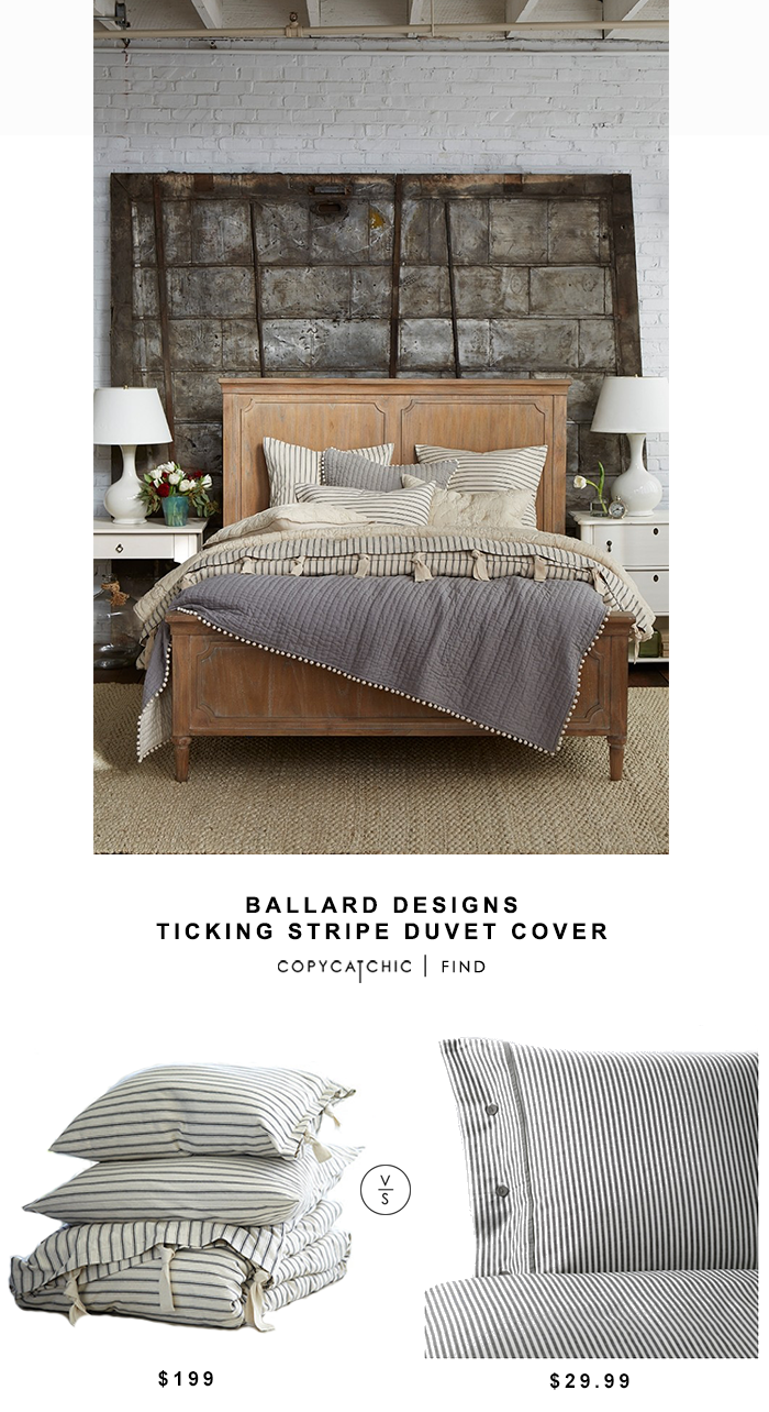 Ballard Designs Ticking Stripe Duvet Cover for $199 vs Ikea Nyponros Duvet Cover for $30 @copycatchic look for less budget home decor and design chic find