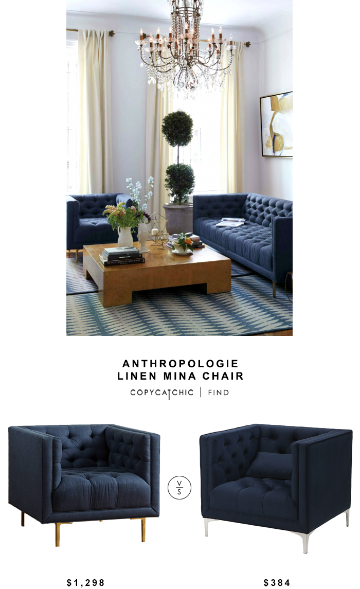 Anthropologie Linen Mina Chair for $1298 vs Republic Design House Anna Button Tufted Armchair for $384 @copycatchic look for less budget home decor design