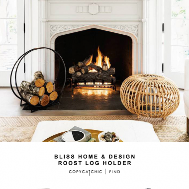 "Bliss Home & Design Roost Log Holder for $188 vs Uniflame 24"" Black Log Hoop for $35 @copycatchic look for less budget home decor and design chic finds."