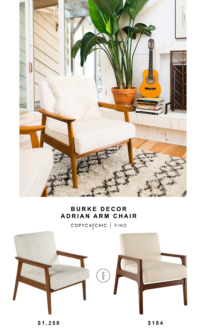 Burke Decor Adrian Arm Chair for $1,258 vs Target Windson Wood Arm chair for $184 @copycatchic look for less budget home decor and design chic find