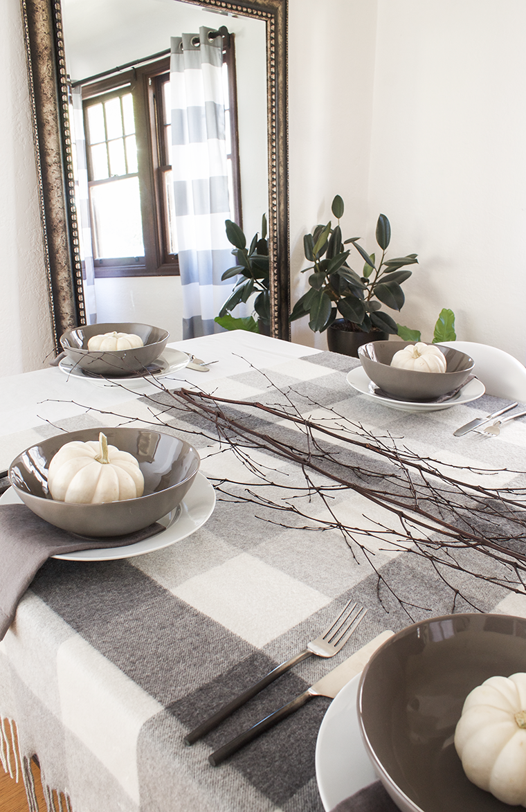 Three different friendsgiving table settings just in time for thanksgiving and fall dinners. Gray and white. @copycatchic with items from @worldmarket