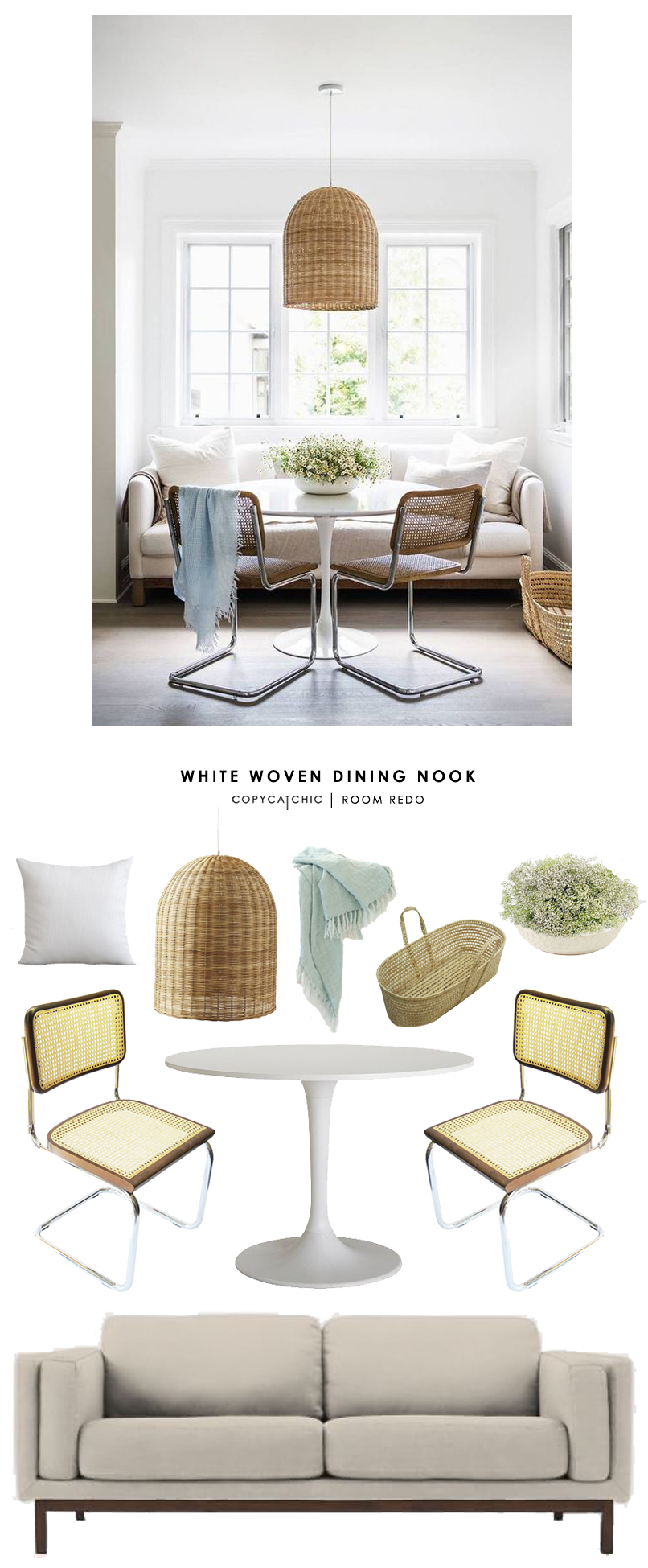 Erin Fetherstone's white eclectic dining nook featured in Domino Magazine gets recreated for less by @copycatchic room redo look for less budget home decor