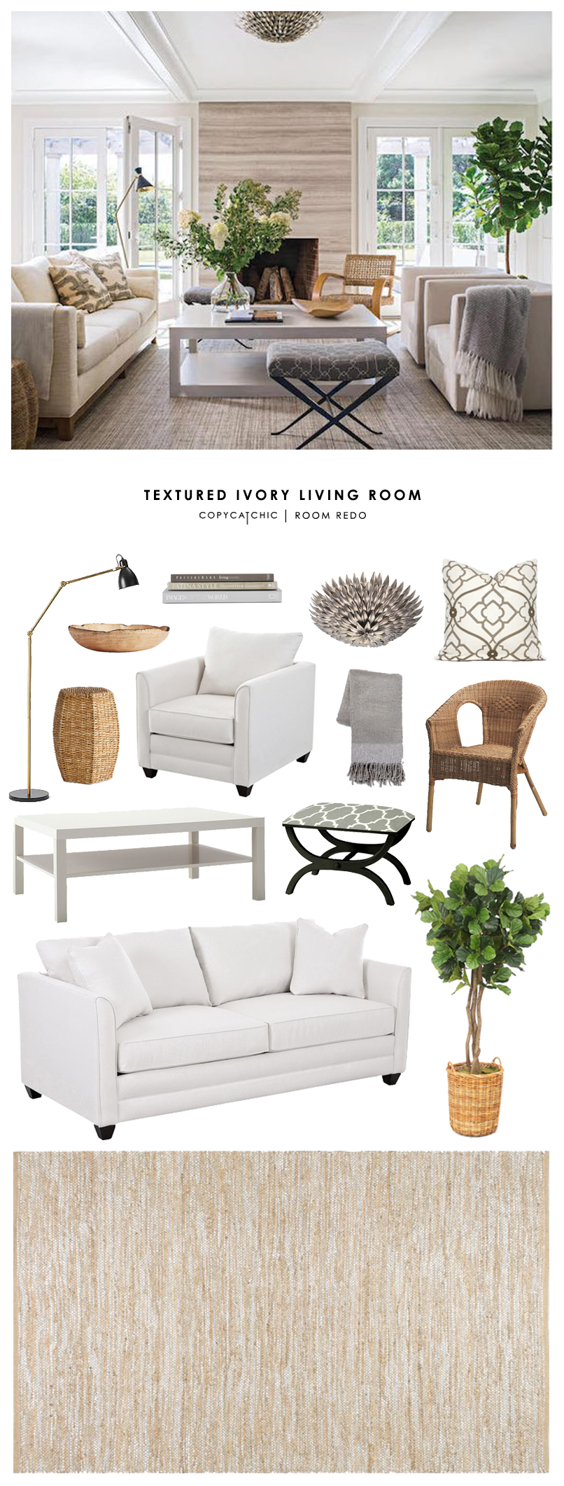 Copy Cat Chic Room Redo Textured Ivory Living Room