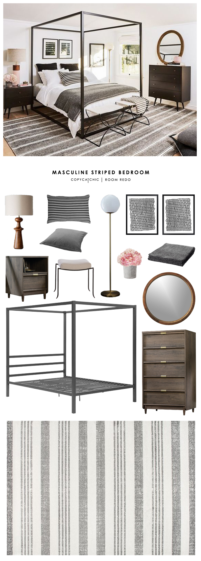 This transitional, eclectic, boho, masculine gray striped bedroom by My Domaine gets recreated for less by @copycatchic room redo looks for less budget home