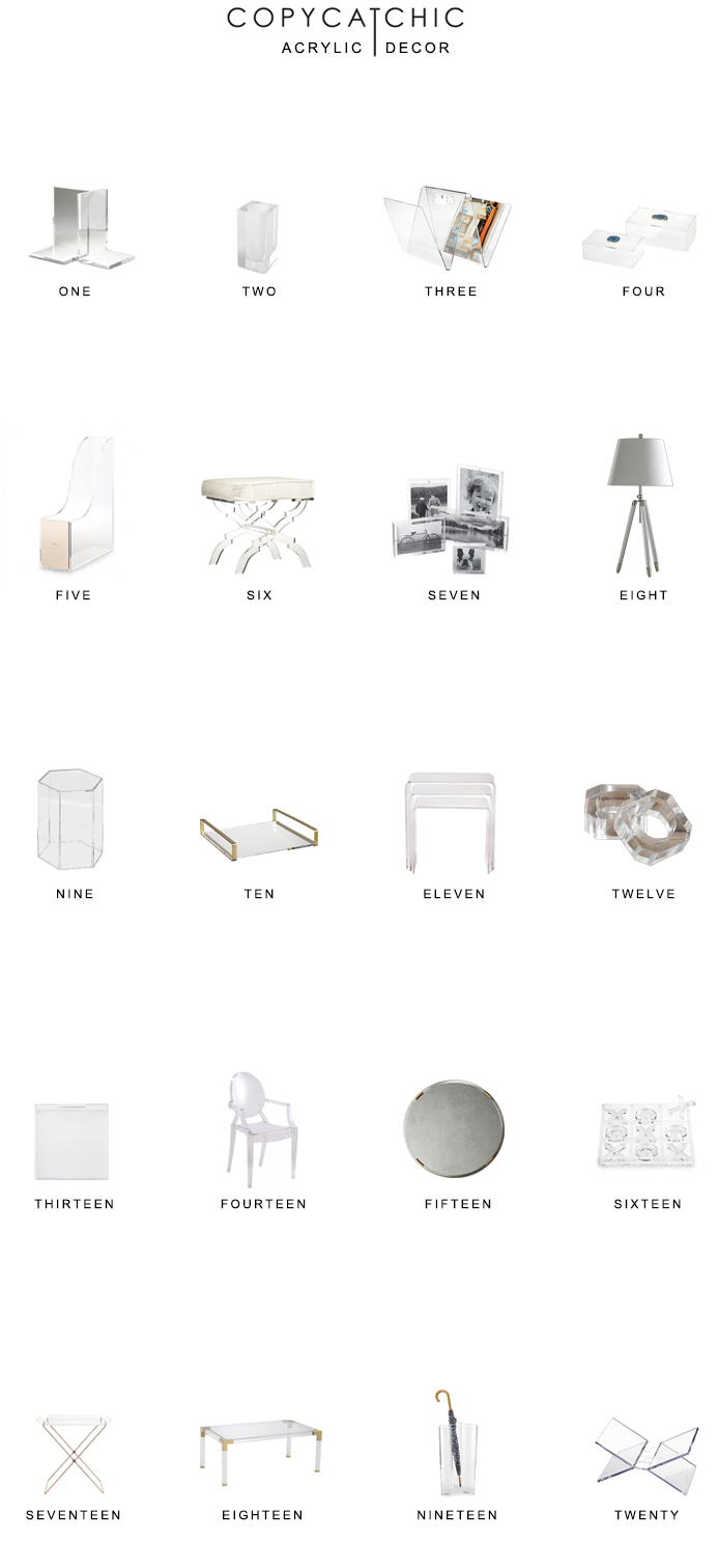 Our favorite acrylic lucite home decor pics trending right now. Acrylic home furnishings are classic and always in style. @copycatchic luxe living for less.