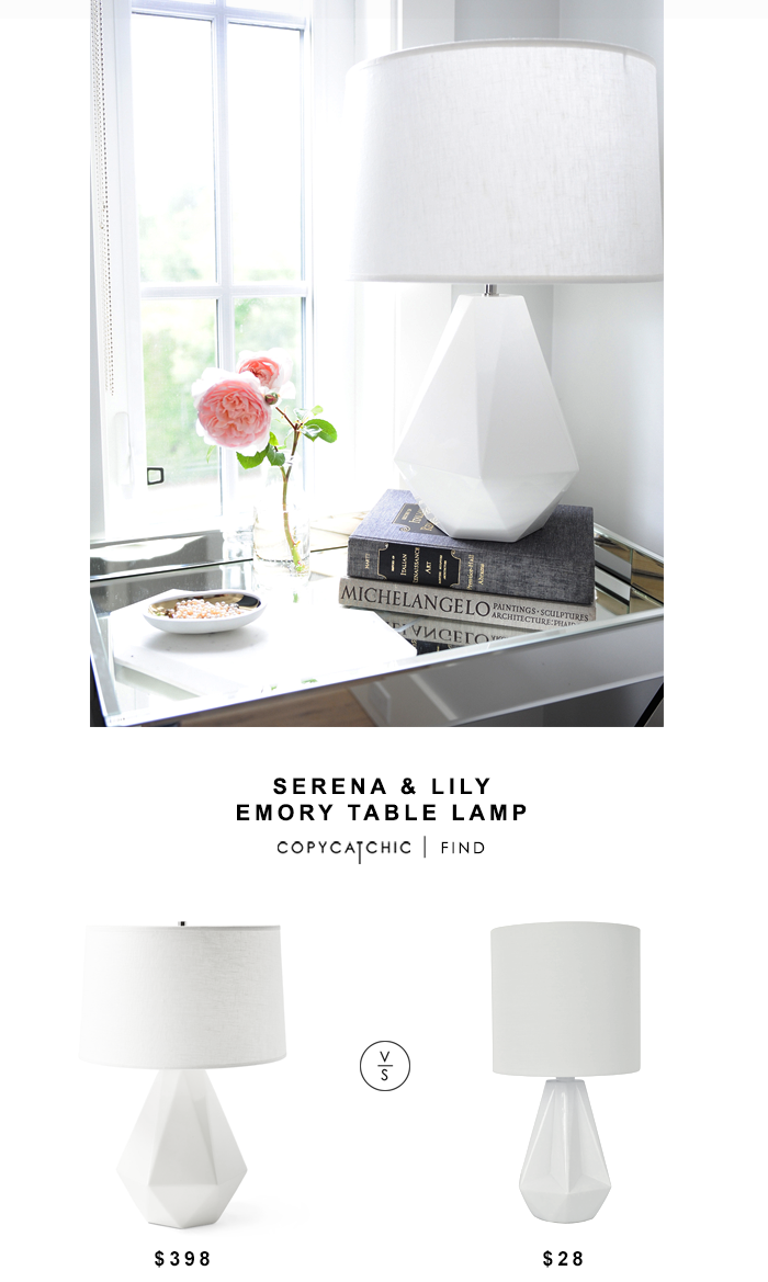 Serena & Lily Emory Table Lamp for $398 vs Silver Sprints White Geo Table Lamp for $28 @copycatchic look for less budget home decor design chic find