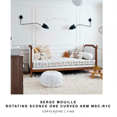 Serge Mouille Rotating Sconce One Curved Arm MSC-R1C for $2,870 vs Decomust MSC-R1C Rotating Wall Sconce for $199 @copycatchic look for less budget home