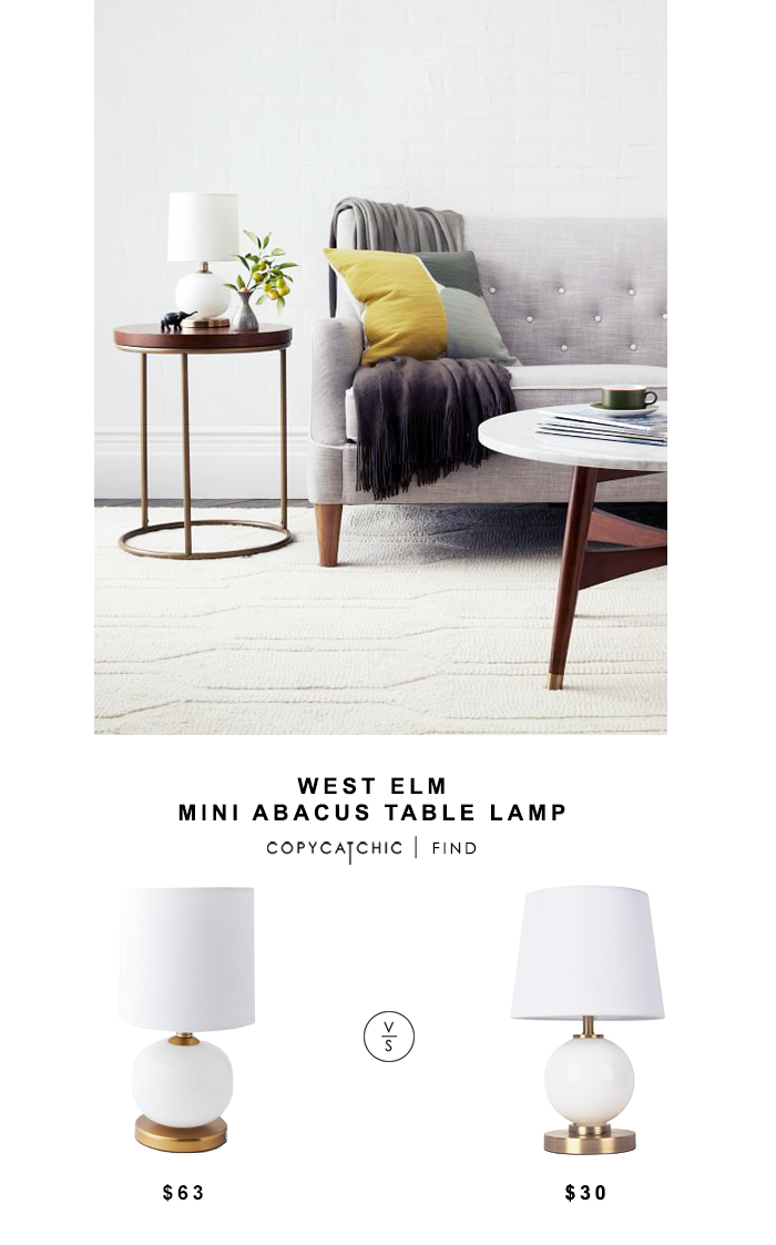 West Elm Mini Abacus Table Lamp for $63 vs Target Glass Ball Table Lamp for $30 @copycatchic look for less budget home decor design chic find