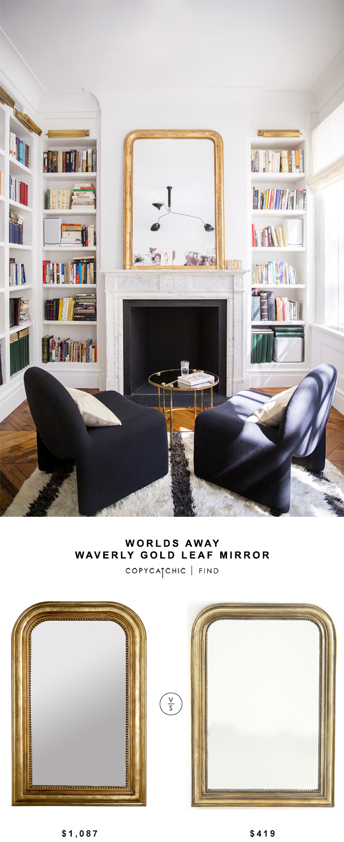 Worlds Away Waverly Gold Leaf Mirror for $1,087 vs Wisteria French Gilt Mirror for $419 @copycatchic look for less budget home decor design luxe for less